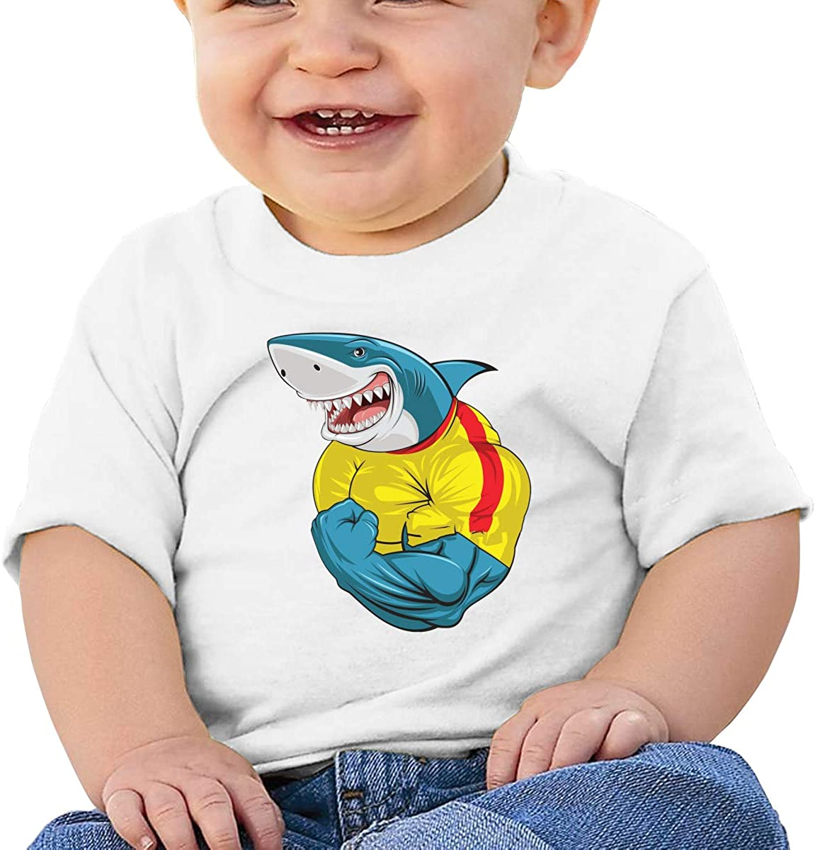 Hipster Toothy Shark Shows Biceps Angry Bodybuilding All Cotton Unisex Baby Shirts Short Sleeve Tee
