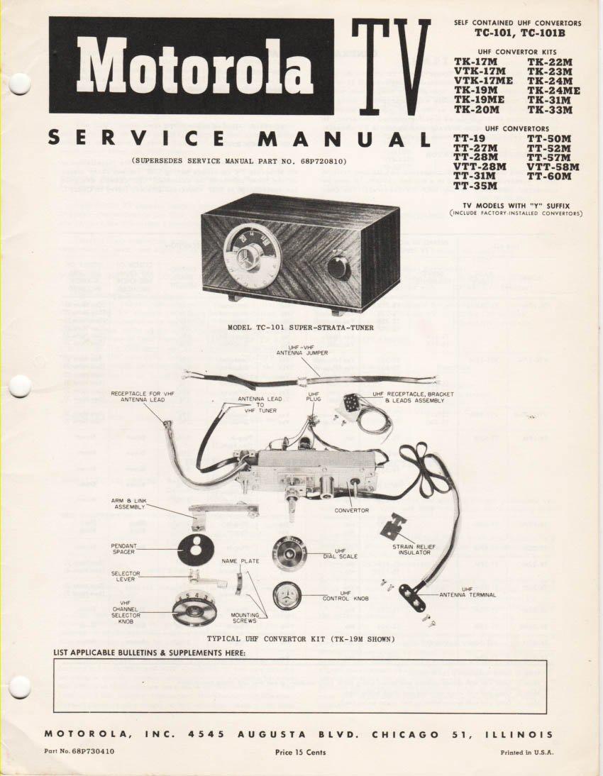 motorola tv convertor service manual models tc 101 tc 101b super rh amazon com Motorola Talkabout Motorola Droid Turbo