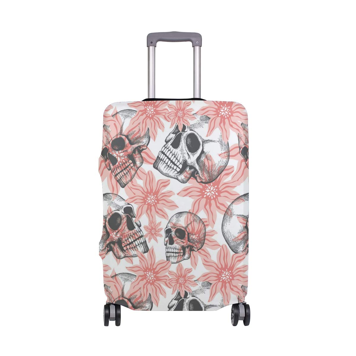 Humorous Pink Rose Skull Traveler Lightweight Rotating Luggage Protector Case Can Carry With You Can Expand Travel Bag Trolley Rolling Luggage Protector Case