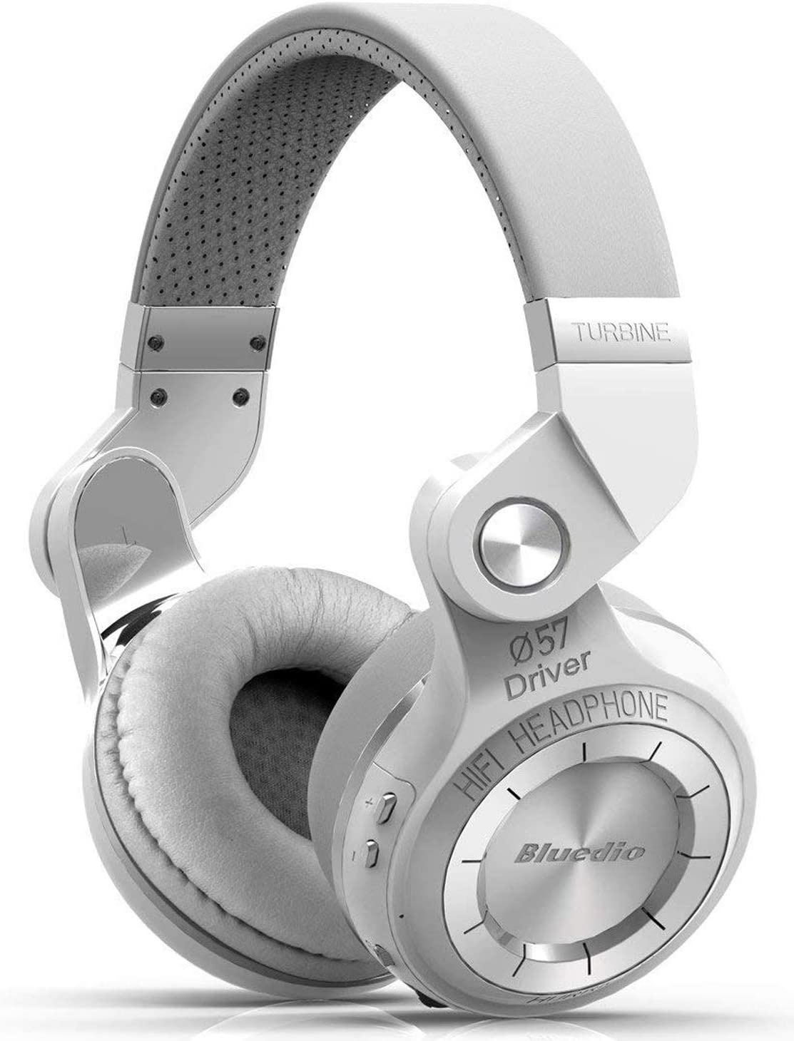 Bluedio T2s Bluetooth Headphones On Ear with Mic, 57mm Driver Rotary Folding Wireless Headset, Wired and Wireless Headphones for Cell Phone/TV/PC, 40 Hours Play Time (White)