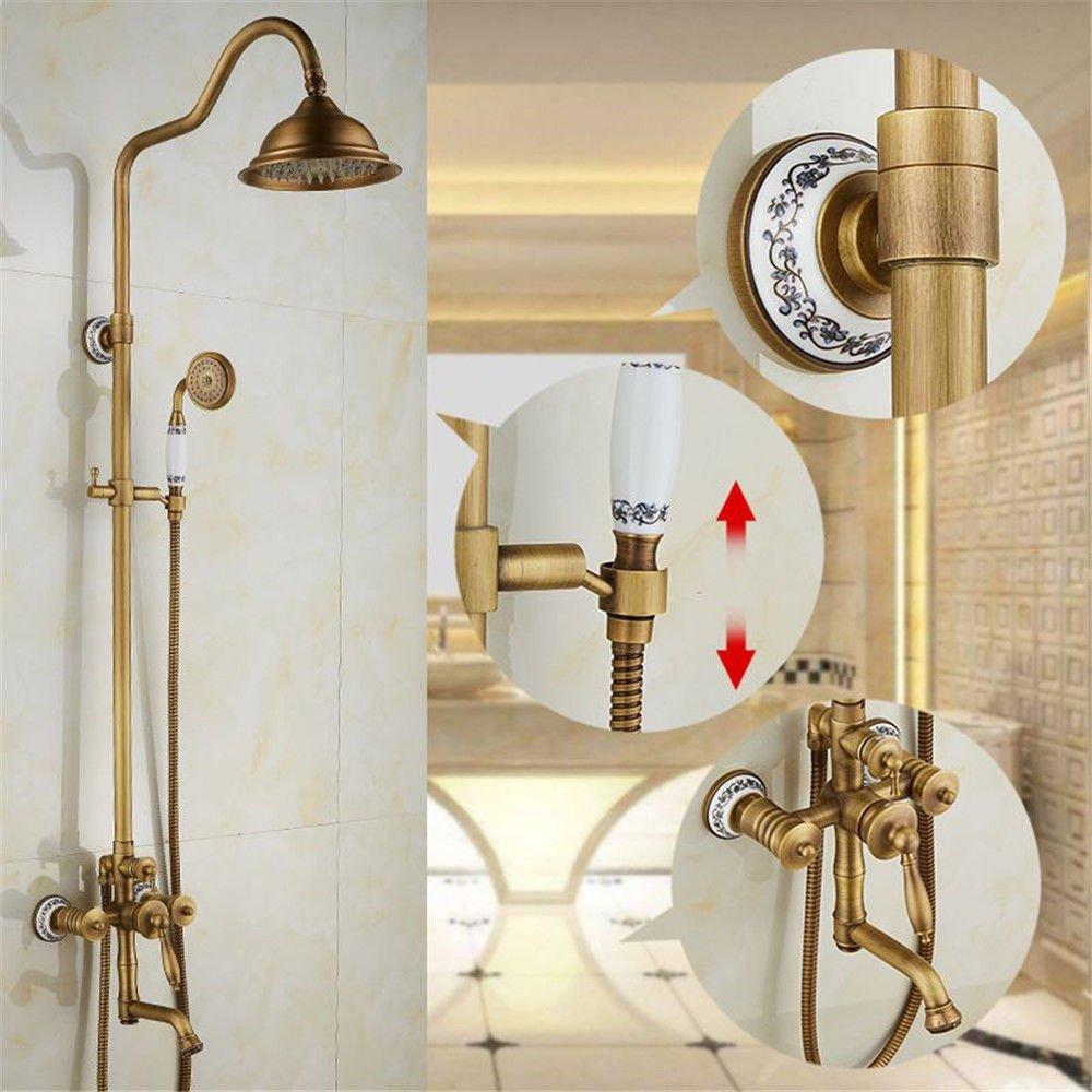ETERNAL QUALITY Bathroom Sink Basin Tap Brass Mixer Tap Washroom Mixer Faucet The brass Bath Faucet 3-Piece Set 5 Piece antique shower hot cold water faucet B Kitchen Sin