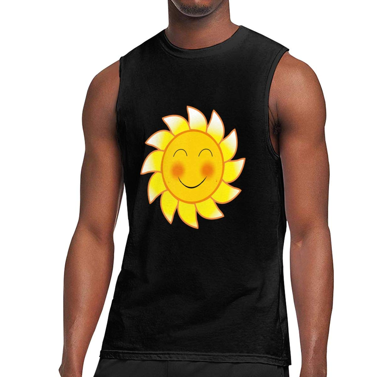 Seuriamin Smile Blushing Sun Expression Classic Outdoor Sleeveless Muscle Short Sleeve Shi