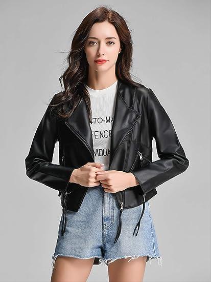 PYKDB FTLZZ Faux Leather Jacket Manteau De Biker Noir pour