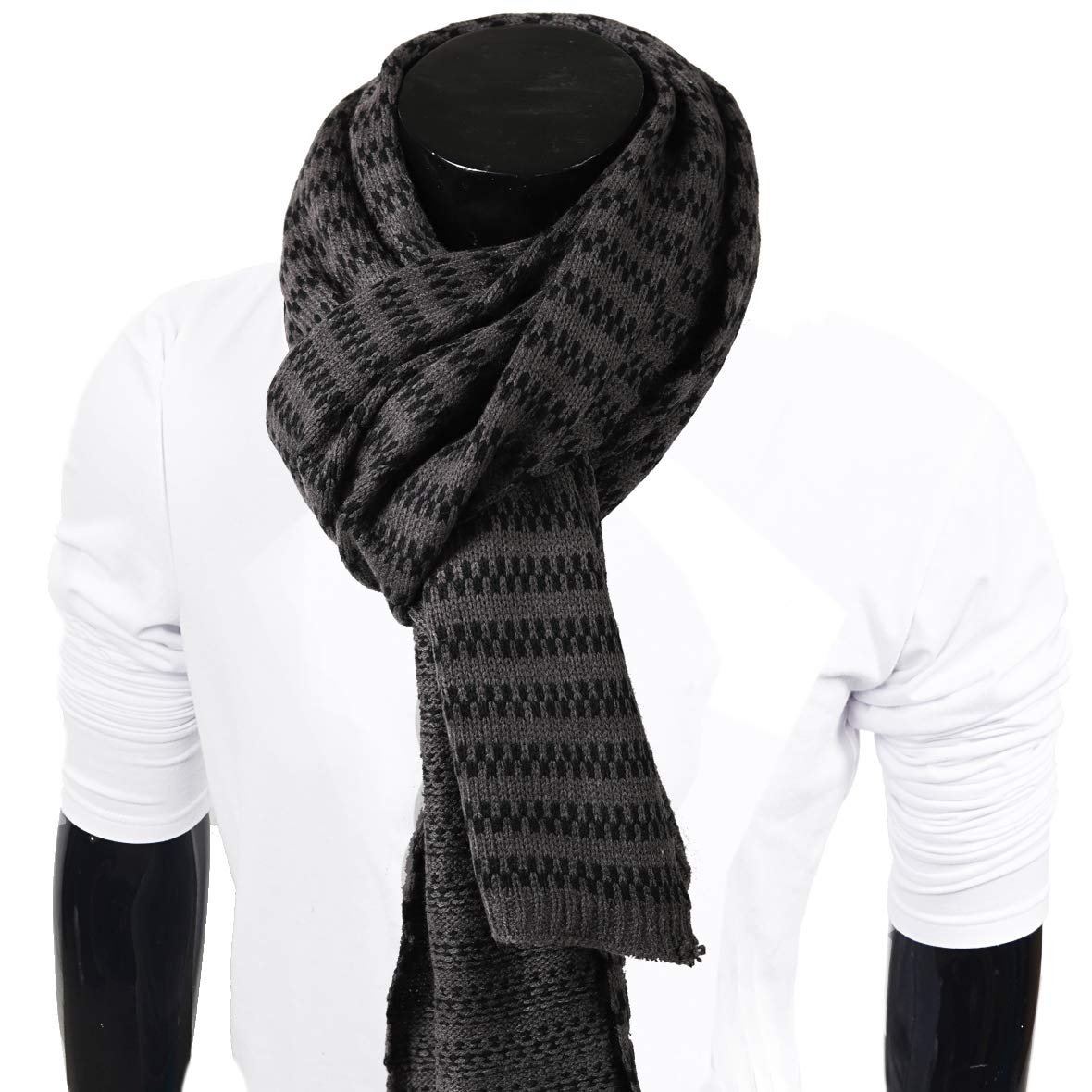 Mens Thick Knitted Plaid Long Winter Scarf Shawl E5031 (E5071-Grey)
