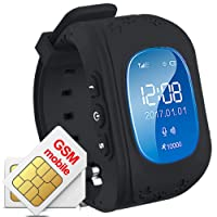 Hangang GPS Tracker Niños Safe Smartwatch Sos Llamadas Localizador de localización de localizador Localizador Para niños Anti Lost Monitor Baby Son Reloj de pulsera (Negro)
