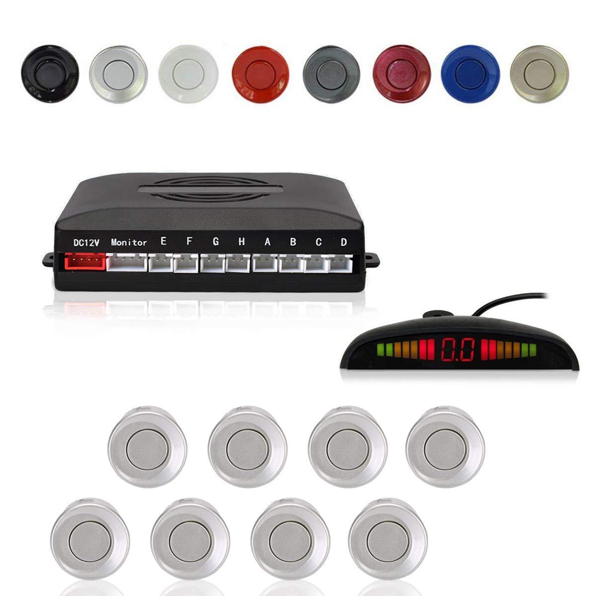 4 Capteurs Cocar Champagne Or Voiture Radar de Recul LED Parking Beep /& park Assist Syst/ème avec Distance Affichage R/étro Aide au Parcage