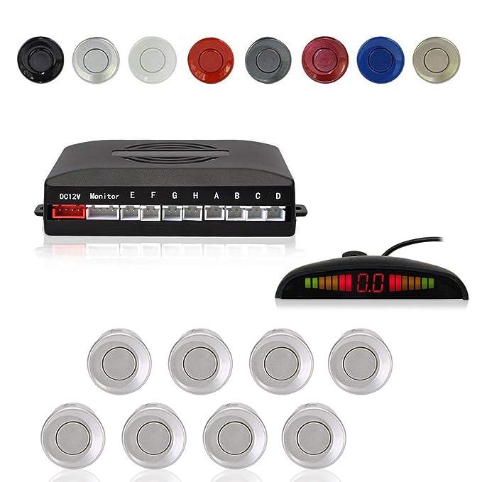 Radar Aparcamiento Sensor Sistema, Cocar Coche Aparcamiento Kit con 8 Estacionamiento Sensores + Detección de Distancia + Sonido Advertencia(Plata Color): ...