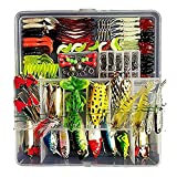 Freshwater Fishing Lure Kits,Topconcept 180Pcs Fishing Tackle Lots,Minnow Popper Pencil Crank RattleFor Trout Bass Salmon For Sale