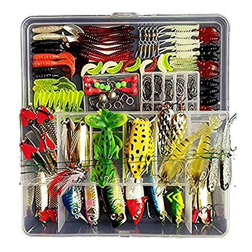 Freshwater Fishing Lure Kits,Topconcept 180Pcs Fishing Tackle Lots,Minnow Popper Pencil Crank RattleFor Trout Bass Salmon ()