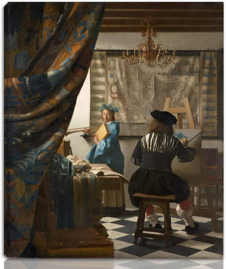Berkin Arts Johannes Vermeer Stretched Giclee Print On Canvas-Famous Paintings Fine Art Poster Reproduction Wall Decor-Ready to Hang(The Art of Painting)#NK