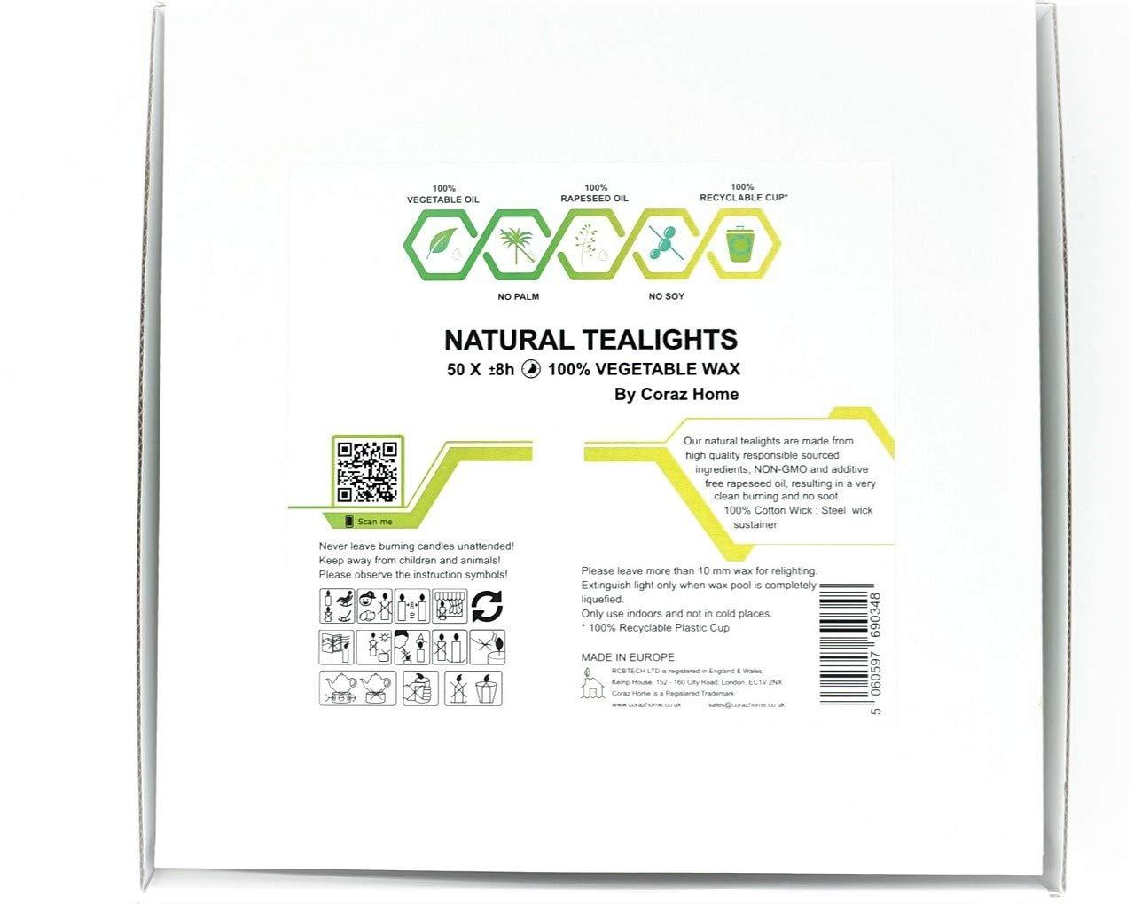 Coraz Home in Scatola Bianca riciclabile 100/% Cera di Colza Senza paraffina Durata 8 Ore Confezione da 50 lumini Naturali e inodori