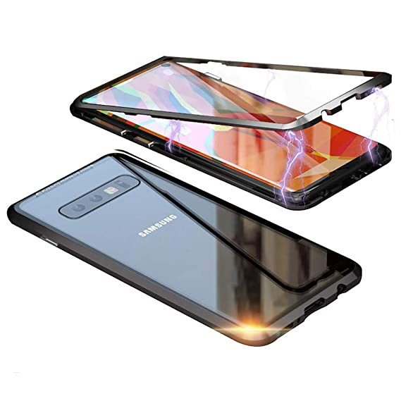info for cf21c e0f41 Galaxy Note 8 Case,Shinetop Ultra Slim Magnetic Adsorption Case Metal Frame  Front and Back Tempered Glass Flip Cover [Support Wireless Charging] Full  ...