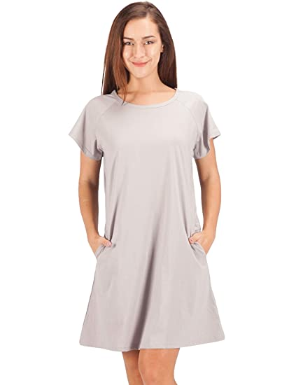 cd28c13d50e9 WEWINK CUKOO Women s 100% Cotton Nightshirt Short Sleeves Pockets  Sleepshirt Loose Sleep Dress Grey