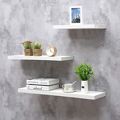 Amazon Com Set Of 3 Floating Wall Shelves Wall Mounted Storage Shelves Wooden Wall Shelf For Living Room Bedroom Kitchen Bathroom And More White Kitchen Dining