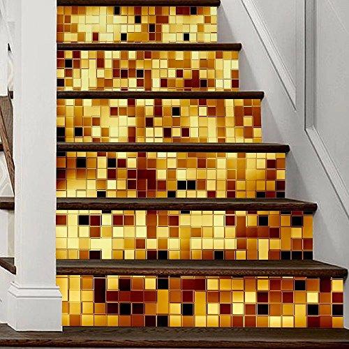 Frolahouse 6 STÜCK Mosaik Dekorative Treppen Aufkleber Fliesen Aufkleber  Peel U0026 Stick Vinyl Adhesive Fliesen. Backsplash.  Treppenhaus Inneneinrichtung.