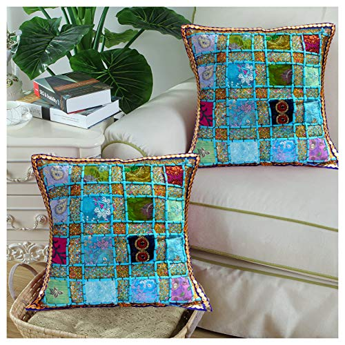 (Ethnic Hand Embroidery Sequin Patchwork Indian Sari Throw Decorative Silk Pillow Cushion Cover Set of 2 Pcs - 16 X 16 Inches / Customized Design to stand out of the Crowd)