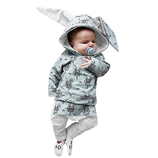 852baa884 SUNBIBE👻Newborn Baby Girls Boys Cartoon Rabbit Bunny Ear Hooded Tops  Splice Print Pocket Pants