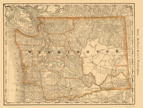 Old State Maps - WASHINGTON (WA) BY RAND MCNALLY & COMPANY 1879 - Glossy Satin Paper (Old United States Map compare prices)