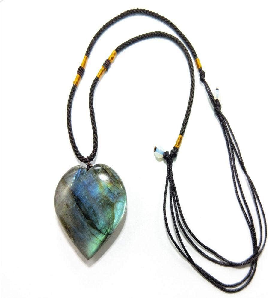 Collar de cristal de labradorita natural Colgante de chakra curativo Colgante de piedra aling