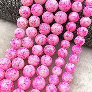 8mm Glass Beads Round Loose Spacer Beads Pattern for Jewelry Making DIY Bracelet Necklace,28