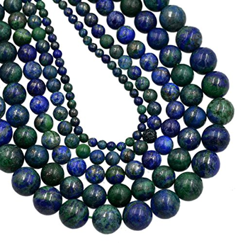 """AD Beads Smooth Natural Gemstone Round Loose Beads 15"""" 4mm 6mm 8mm 10mm (6mm, Lapis Lazuli Chrysocolla)"""