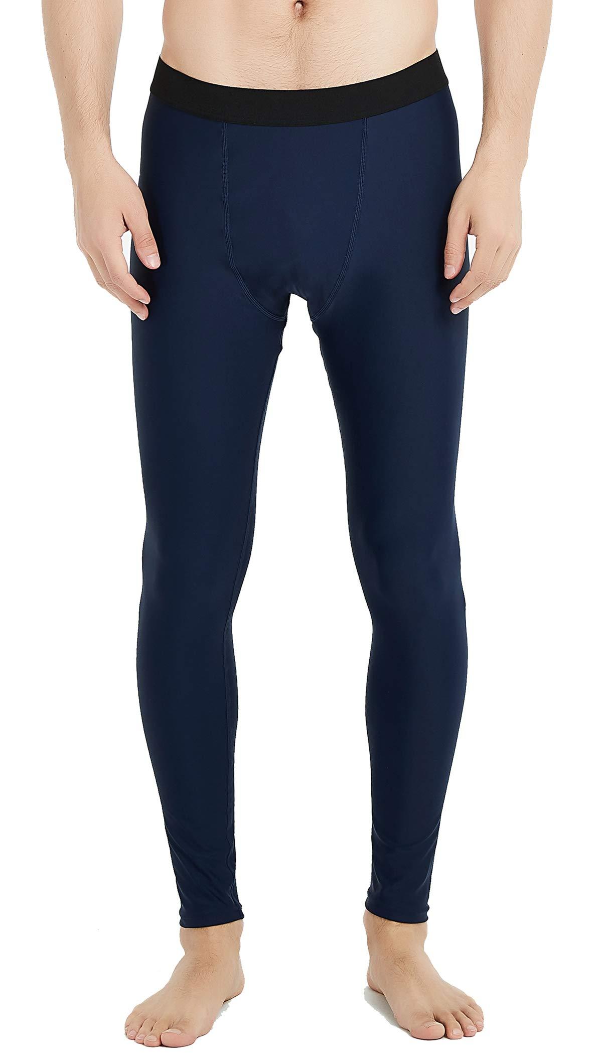UPF 50+ Men's Surfing Leggings Sun Protection High-Waist Tummy Control Swimming Pants(6006navy-XL) by Lemorecn