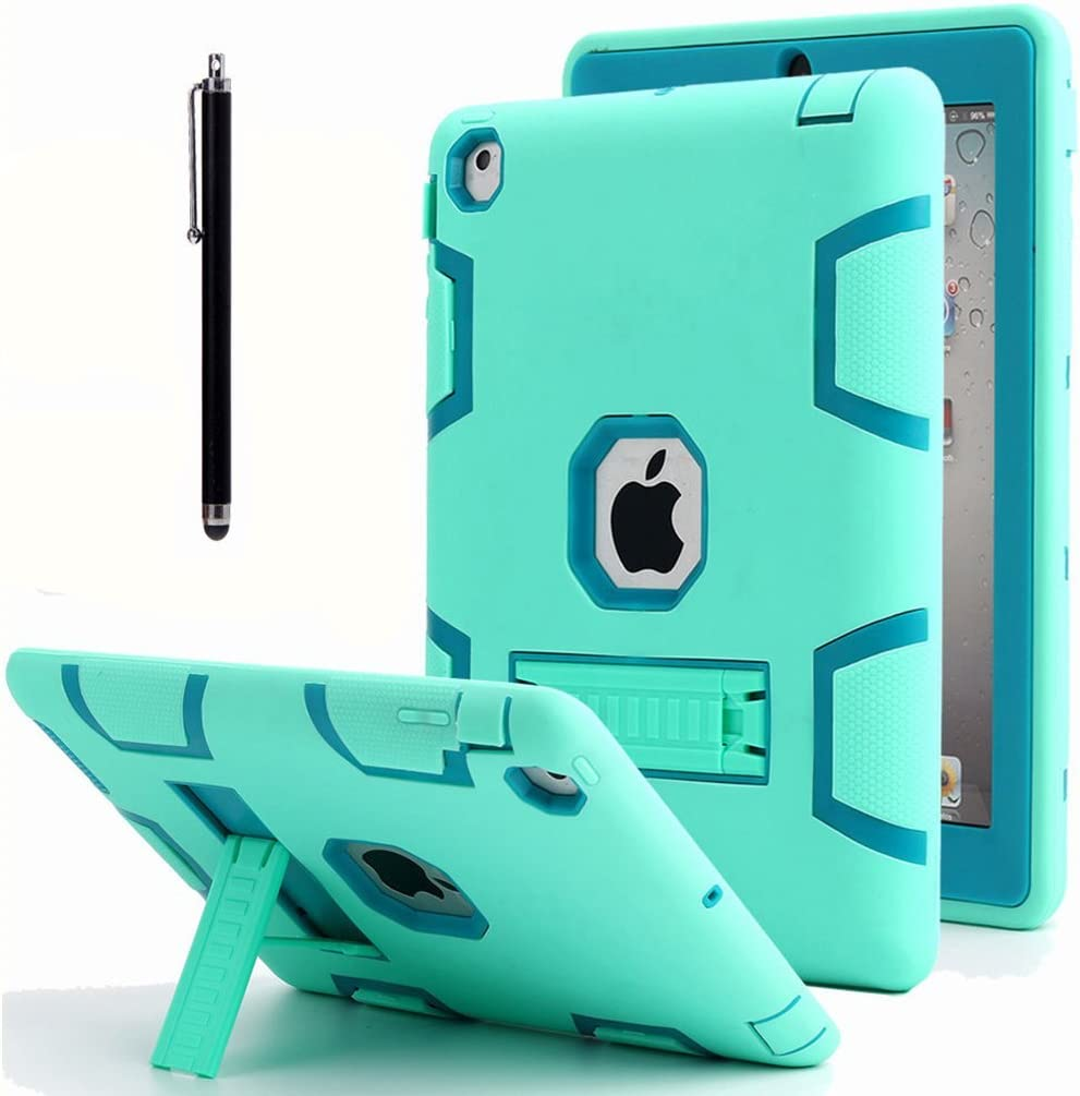 iPad 2 Case,iPad 3 Case, iPad 4 Case, AICase Kickstand Shockproof Heavy Duty Rubber High Impact Resistant Rugged Hybrid Three Layer Armor Protective Case with Stylus for iPad 2/3/4 (Mint Blue+Green)