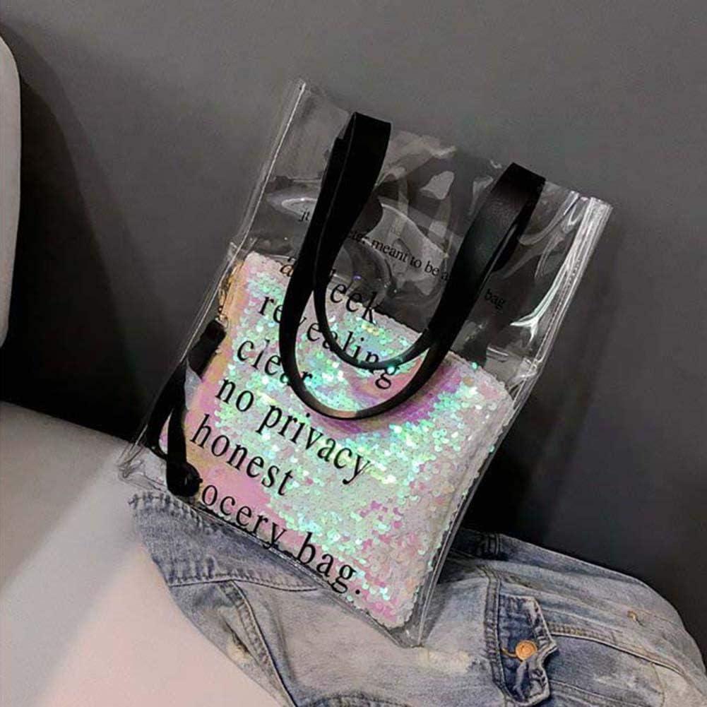 Rundaotong-US Women Clear Shoulder Bag Girl Waterproof Large Capacity Beach Travel Bag Clear Transparent Beach Colorful Wallet Swimming Tote Shoulder Bag