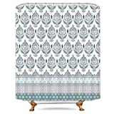 Grey and Teal Shower Curtain Cdcurtain Floral Damask Shower Curtain Set Teal and Grey Geometric Flower Striped Plaid Shower Curtain Panel Btahroom Polyester Waterproof Fbric 72 x 72 Inches with 12-Pack Plastic Shower Hooks