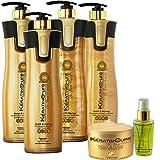 Keratin Cure 0% Formaldehyde Gold & Honey Bio-Brazilian Professional Hair Treatment 960 ml/32.5 - 120 ml sil - 1000 g Masque 6 piece kit