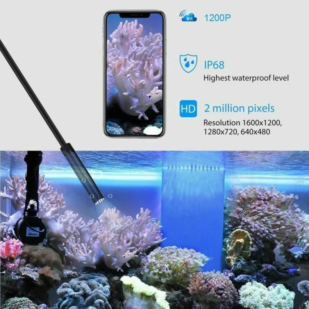 Hard-2M HD Endoscope dur 2 m WiFi /étanche IP67 avec 6 lumi/ères LED pour Android et iOS iPhone Smartphone Mac Cam/éra endoscopique sans fil