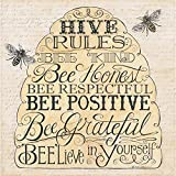 Cypress Home Bee Happy Embossed Paper Cocktail Napkin, 20 count