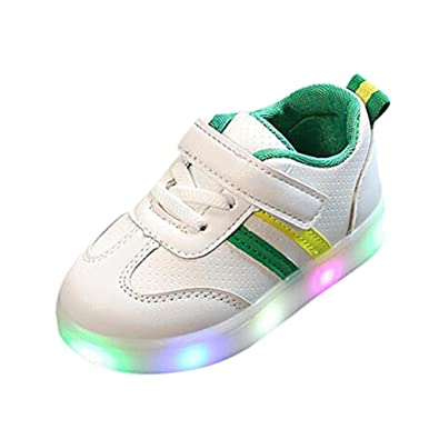 QinMM Kleinkind Kinder Kinder Baby Striped Schuhe LED Leuchten Leucht  Turnschuhe (21, Grün)