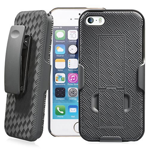 Verizon HOLSTERSHELL-IPSE Shell Holster Combo Case for Apple iPhone 5/5S/Se with Kick-Stand & Belt Clip ()