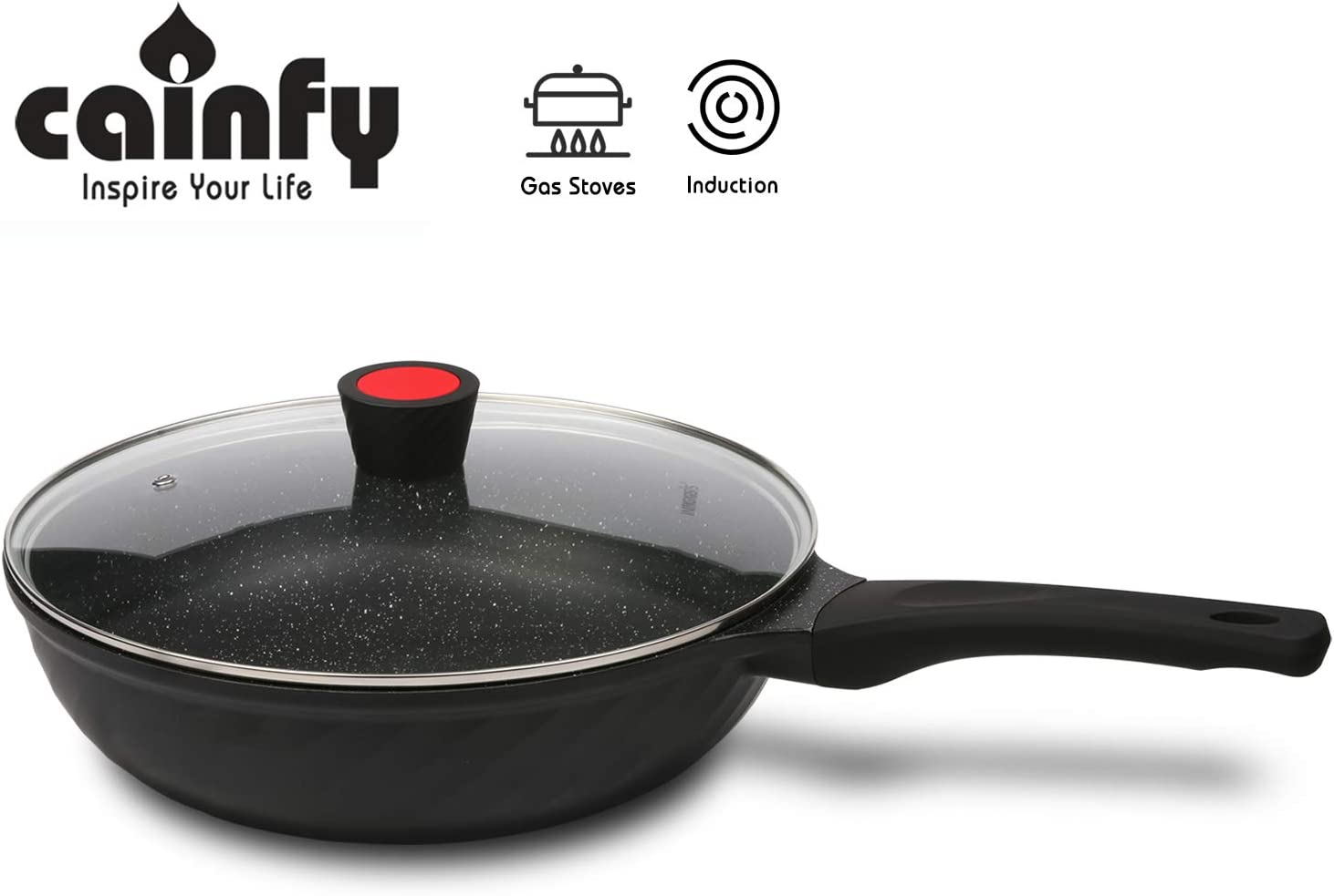 Cainfy 12Inch/30cm Wok Pan with Lid,Die Cast Aluminum Nonstick Deep Stir Fry Pan,Induction Flat Bottom,Traditional Chinese Skillet Wok,Soft Touch Bakelite Handle,Dishwasher Safe,PFOA Free Coating