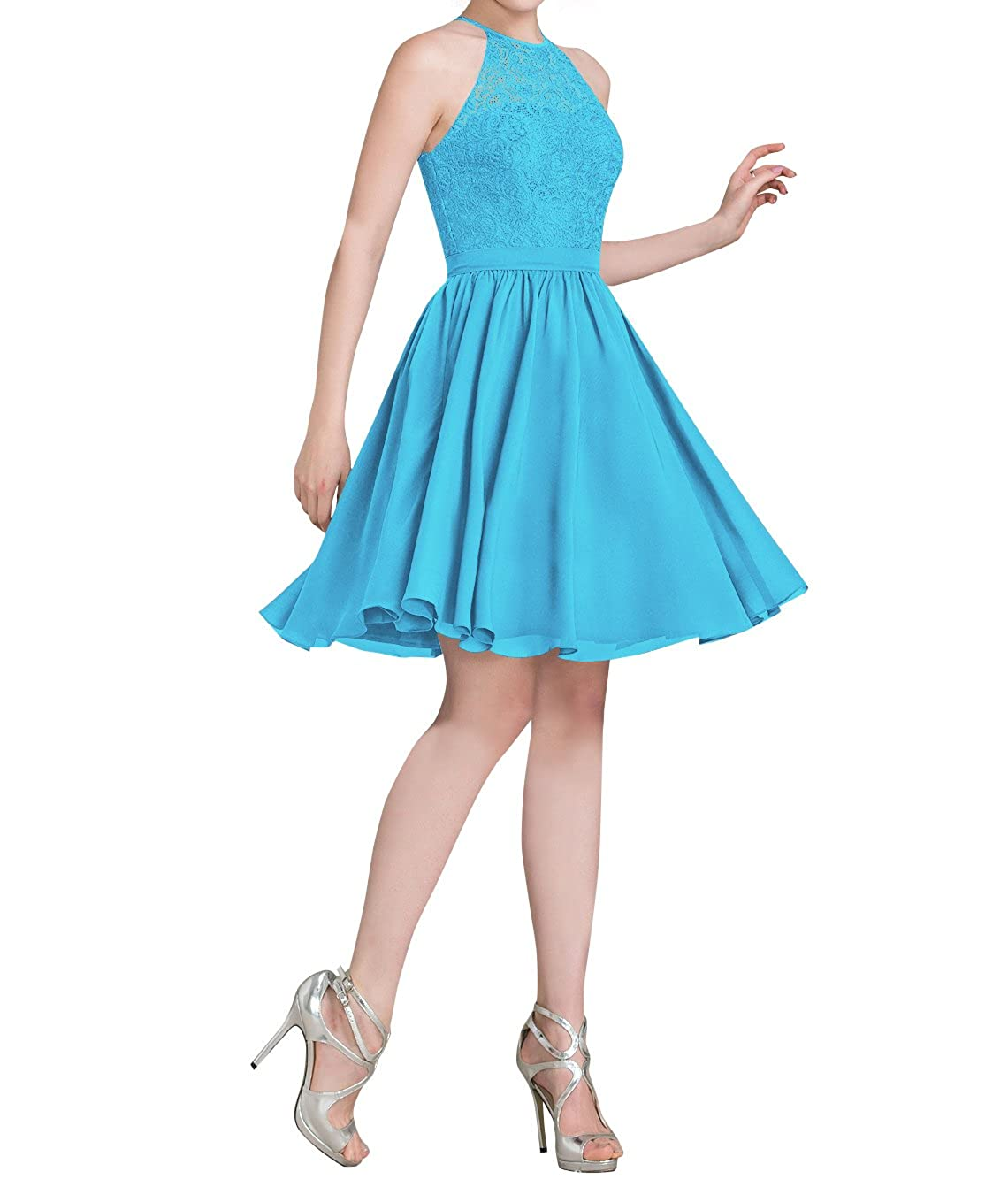 c3e12bb8c56 Amazon.com  Loffy Women s Halter Short Homecoming Dress Beading Tulle Prom  Dress  Clothing