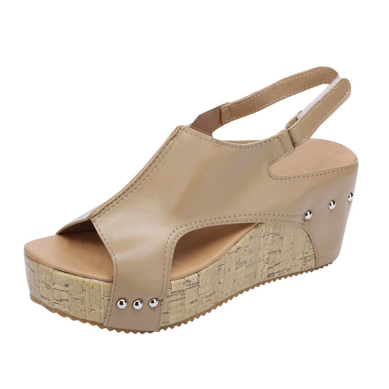 SUKEQ Women Cutout Ankle Strap Studded Platform Wedge Sandal, Breathable Open Toe Slingback Rivet Boho Summer Beach Slipper Shoes (8 B(M) US, Khaki)