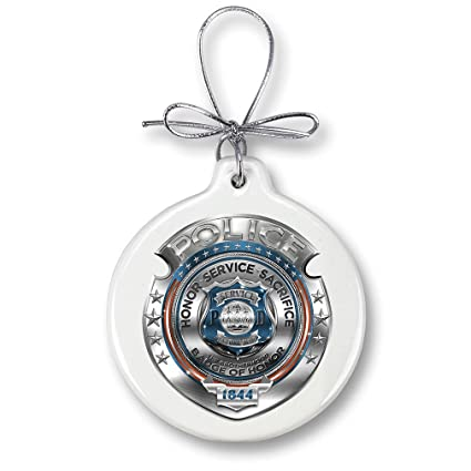 christmas ornaments police gifts for men or women law enforcement ornaments with a silver