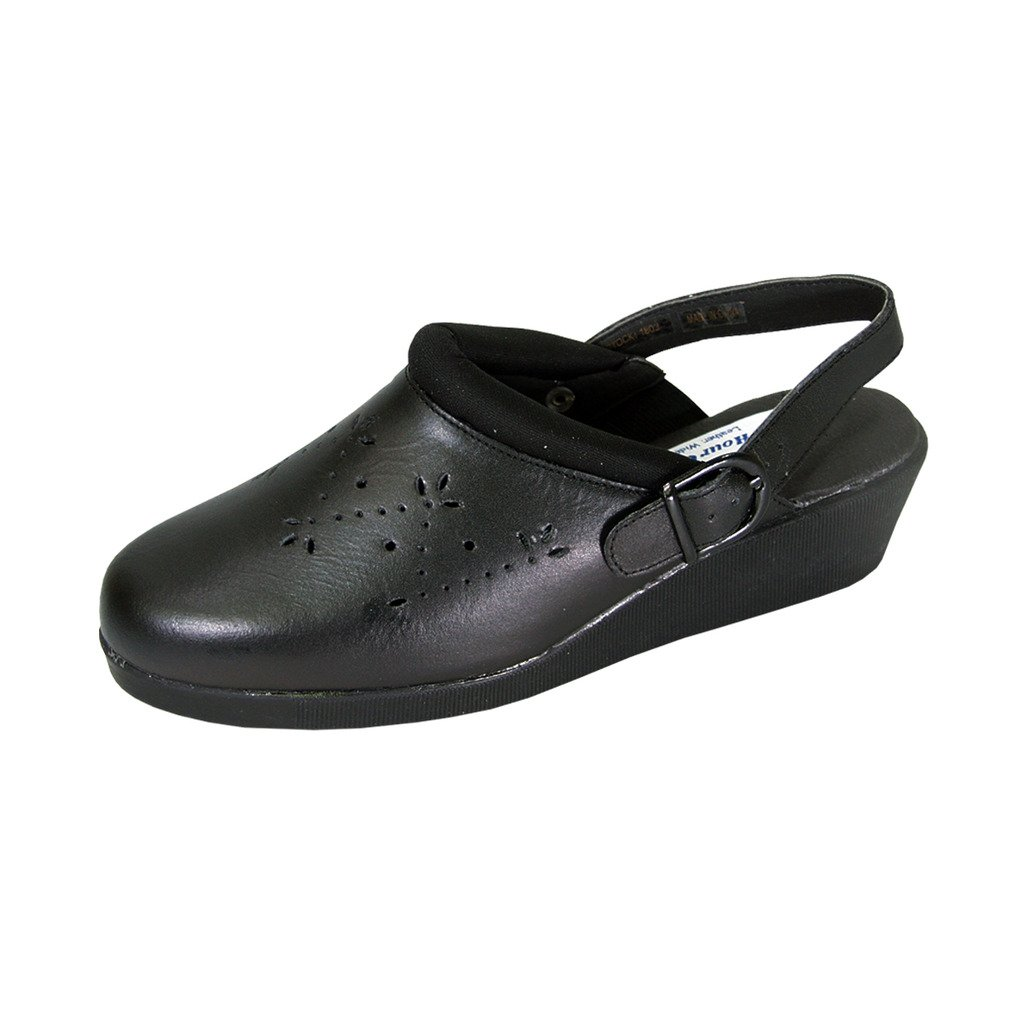 24 Hour Comfort  Libby (1803) Women Extra Wide Width Leather Clogs Black 11