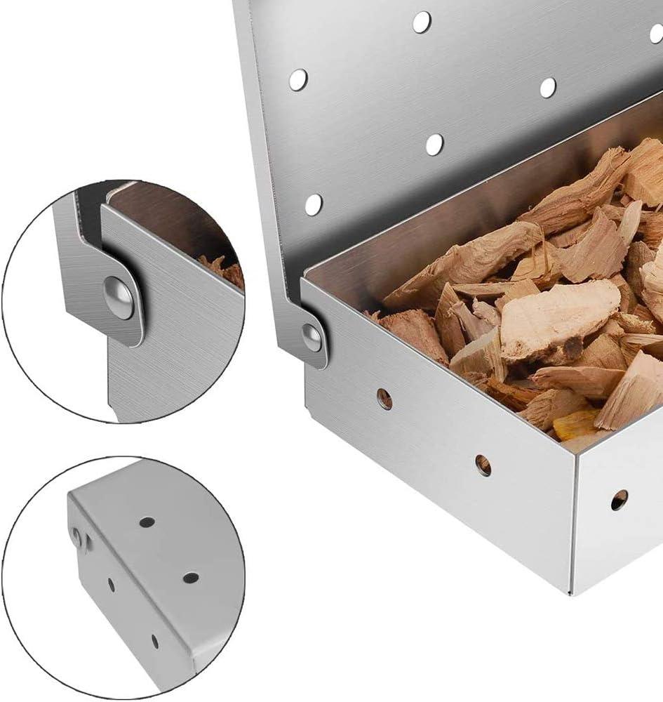 accesorios para barbacoa AINEKUI Caja para ahumar de acero inoxidable para parrilla de barbacoa a/ñadir sabor ahumado a barbacoa en parrilla de gas o parrillas de carb/ón