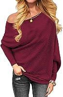 MinGe Women Loose Thin Section Slash Neck Long Bat Sleeve Solid Tunics Blouse