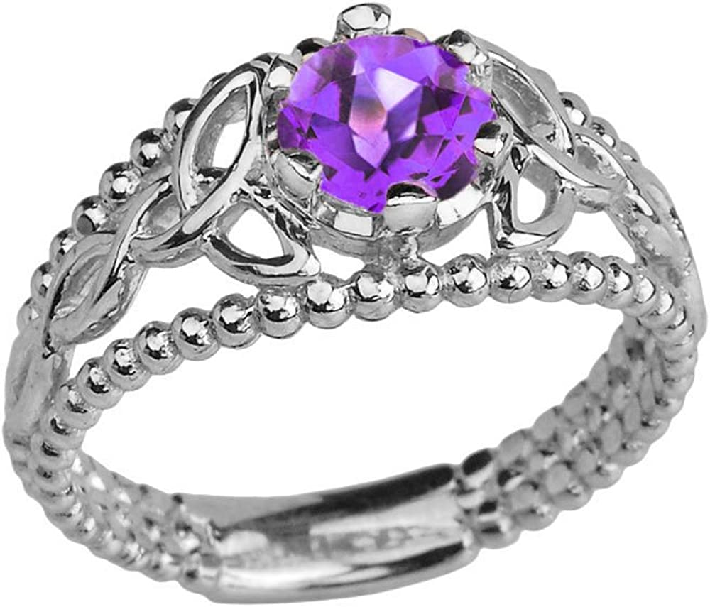 Sterling Silver Modern Beaded Celtic Trinity Knot Engagement Ring with Genuine Amethyst