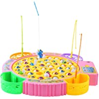 Masterstor Fishing Game Toy Set with Rotating Board | with 45 Fishes and 4 Fishing Rods | Equipped with Music | Develop Childs Hand-Eye Coordination (Yellow)