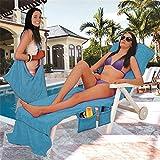 Blackblume Microfiber Fiber Sunbath Lounger Bed Mate Chair Cover Beach Towel 30' x 83' (30'83'/75cm210cm, Blue)