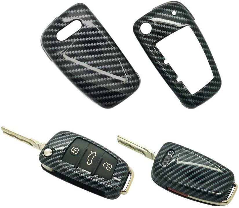 carmonmon Smart Remote Keyless Entry Paint Color Shell Key Case Cover Fit for Audi A3 A4 A6 A8 TT Q7 S6 Folding Blade Key Red