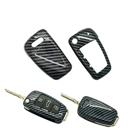 carmonmon Smart Remote Keyless Entry Paint Color Shell Key Case Cover for Audi A3 A4 A6 A8 TT Q7 S6 Folding Blade Key (Carbon Gloss Fiber)