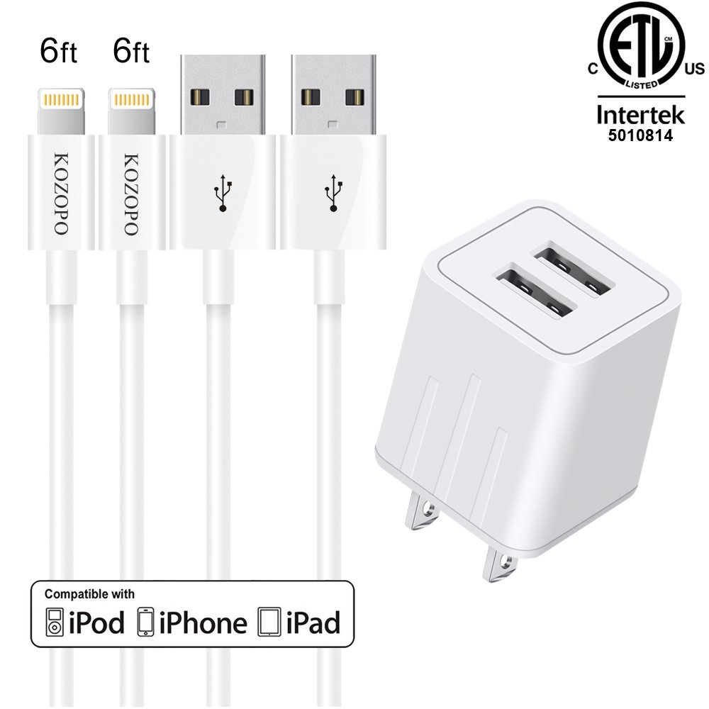 KOZOPO Phone Charger Fast Charging Long Durable 6FT (2-Pack) 8 Pin Lightning to USB Cable Charging Cord 2 Port Travel Wall Charger Compatible iPhone iPad Mini/iPod