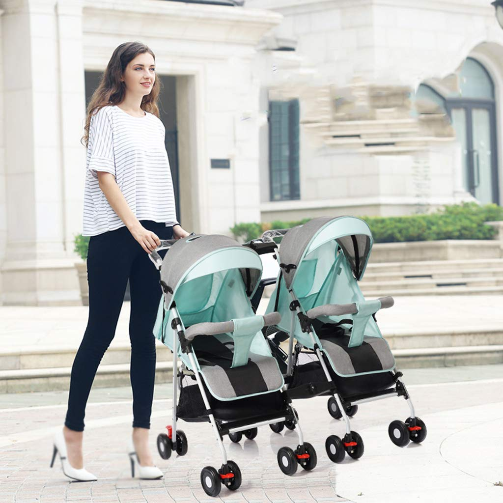 OCYE Stand-On Tandem Stroller/Standing/Sitting Double Stroller/Double Jogger, Lightweight Three-Speed Adjustable Awning Oversized Storage Basket Pedal, Gray by OCYE (Image #2)
