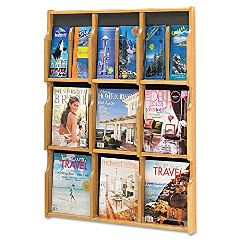 Safco Products 5702MO Expose Literature Display, 9 Magazine 18 Pamphlet, Medium Oak/Black - 9 Pocket Magazine Display