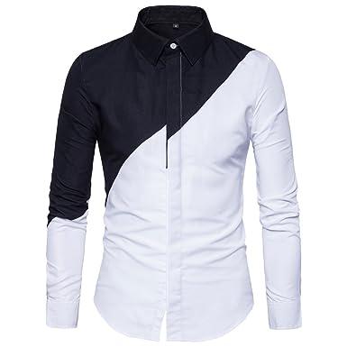 44f499bbe WULFUL Men's Dress Shirt Casual Long Sleeve Shirt Regular Fit Button Down  Shirt Black White